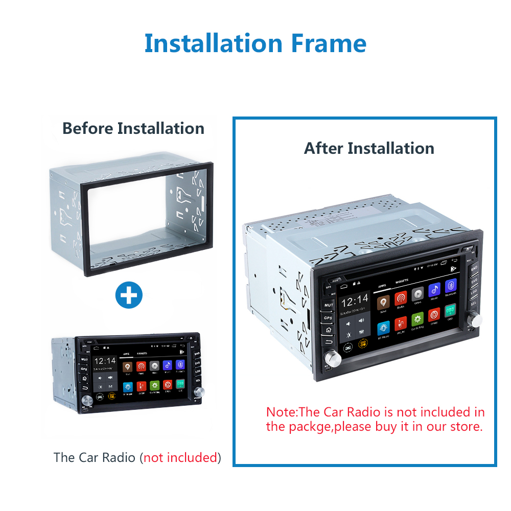 Vanku Universal Double Din Installation Dash Kit Mounting Metal Fitting Cage for 2 DIN Car Stereo Radio