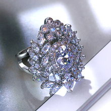 2017 New Engagement Rings For Women Premium Quality Cubic Zircon Prong Setting See Through Ladies Party Ring Gold-color CZ Rings(Hong Kong)