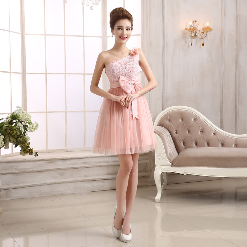 2017 A Line Sweetheart Embroidery Sweet Tulleone shoulder Girls Party Gowns short pink bridesmaid dresses<br><br>Aliexpress