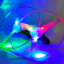 Abbyfrank 5Pcs/lot New LED Flying Saucer 25CM Flying Fairy Light Up Plastics UFO Magic Plate Luminous Flash Pull Outdoor Toy(China)