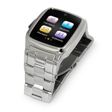 Steel belt smart watch phone Build-in Camera, shoot video and take photo, supporting MP3 and MP4 for businessman use