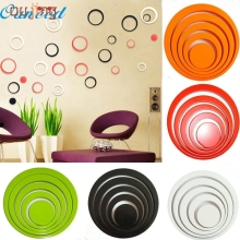 Festival New 3D Cute 1 Set Indoors Decoration Circles Creative Stereo Removable 3D DIY Wall Stickers