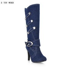 ETOYWORD 2018 yards in female boots cowboy cloth canister boots belt buckle is fine with high heels for women's shoes(China)