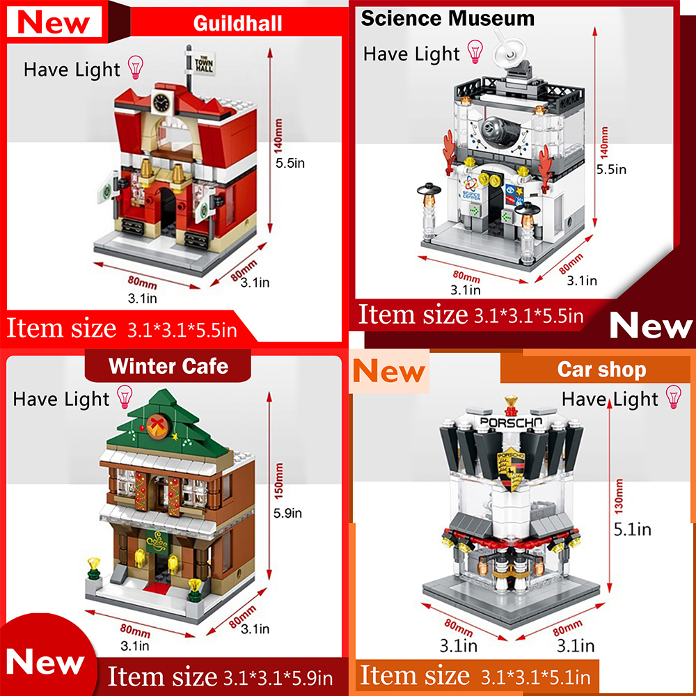 4PCS/Set Mini Street View Building Block City Toys Coffee shop City Hall Science and Technology Hall SD6520 21 22 23<br>