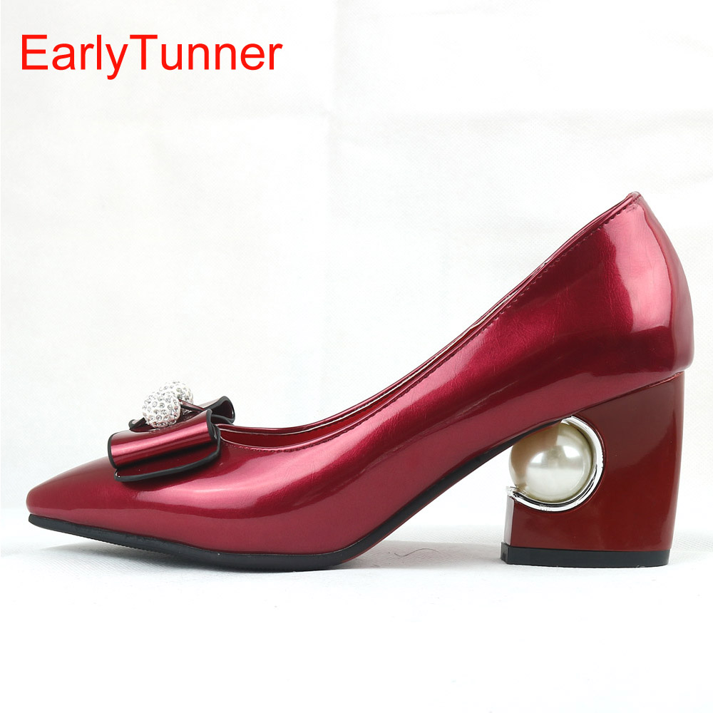 Sales Brand New Fashion Glossy Women Formal Pumps Beige Red Pink Black Sexy Lady Wedding Shoes EY6s Pearl Plus Big Size 12 31 48<br>