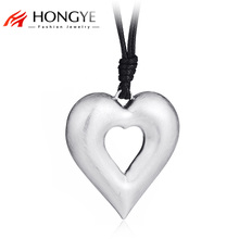 HONGYE Fashion Long Black PU Leather Chain Heart Shape Pendant Necklace Gift Ethnic Bohemian Drawing Choker Necklaces Jewelry(China)