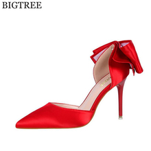 BIGTREE Latest Shoes Women Pumps Spring Pointed Toe Basic Party Thin High Heels Bow Ladies Shoes high heels sandals women k134