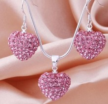New STYLE! New Arrival Fashion Pink Crystal Heart Pedant Shamballa Necklace  earring set lot  Rhinestones Ball Bead JEWELLRY