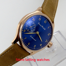 44mm parnis Rose Gold case light yellow dial big 6497 movement hand winding mens watch(China)