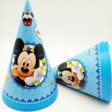 6pcs 20*14.5cm Mickey Mouse Paper Cap Hat Cartoon Theme Kid Boy Birthday Party supplies Decoration supplies for kids birth(China)