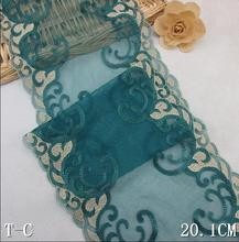 1 Meter Peacock Green Lace Mesh Bilateral Embroidered Net Lace Trim DIY Sewing Supplies 20cm Width