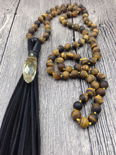 YA2523 Natural Yellow Quartz Point Faceted Pendant Leather Tassel Tiger eye Stone Beads Knot Handmade Necklace  30inch long