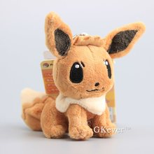 "Anime Cute Pikachu Ditto Cospaly Eevee Plush Pendant with Keychain Mini Kawaii Eevee Stuffed Dolls 4"" 10 cm Bag Accesory"