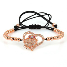 Love Bracelet Hello Kitty Jewelry Girls 4mm Copper Beads & White CZ Beads Charm Adjustable Macrame Bracelets for Women Rose Gold(China)