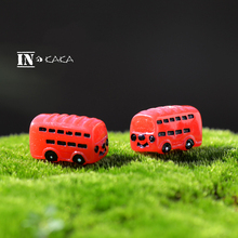 2pcs mini red bus cars Furniture doll house Decoration statue Figurines Toys miniature micro fairy garden bonsai accessories