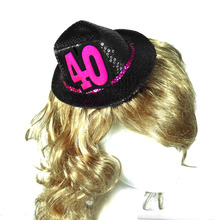 Mini birthday fedora party hat black on hair clips 50% off for 3pcs hair accessories souvenir 21 30 40 50 event party supplies(China)