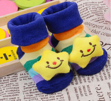 1Pair New 3D Cubic Sox Baby Socks Cartoon Antiskid Baby Girls Boys Infant Toddler Sock Learning Walk Protect Toe Socks Sox