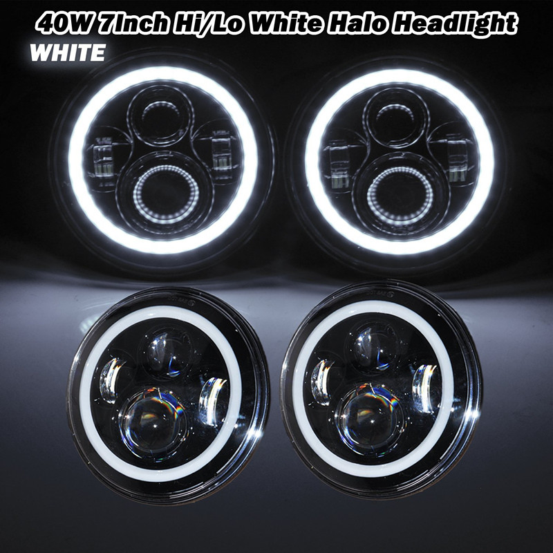 7 Inch Round led headlight led Driving lights + White halo angel eyes for Jeep 97-15 Wrangler JK Land Rover<br><br>Aliexpress