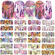 12Designs Beauty Full Wraps Cover Nail Art Watermark Sticker Windmill/Owl/Feather Pattern Nail Tip Decals LAA1309-1320