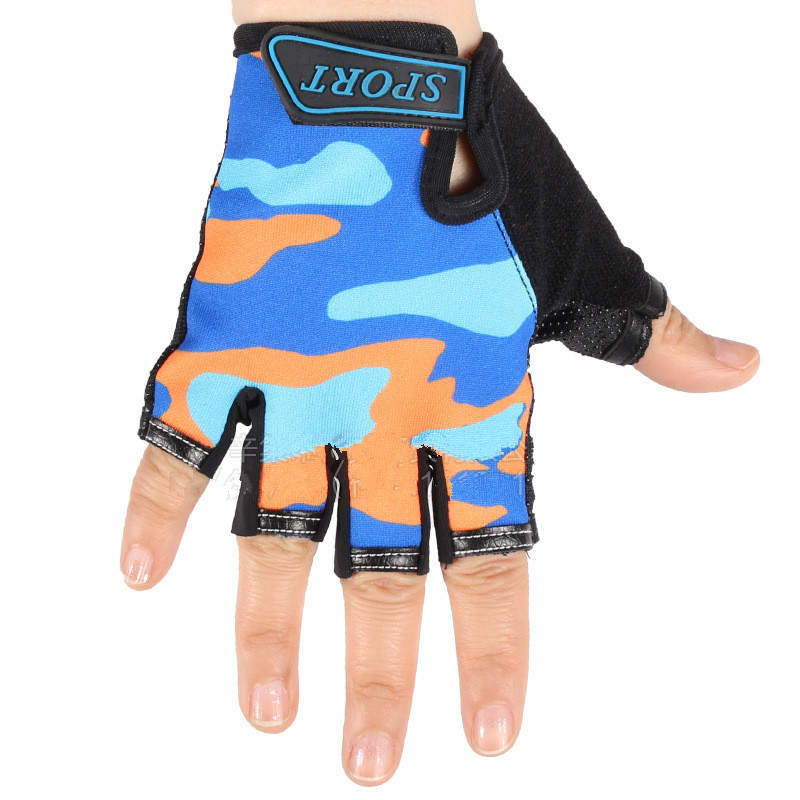 2PCS Camouflage Childrens Riding Half Finger Gloves Age 5-10