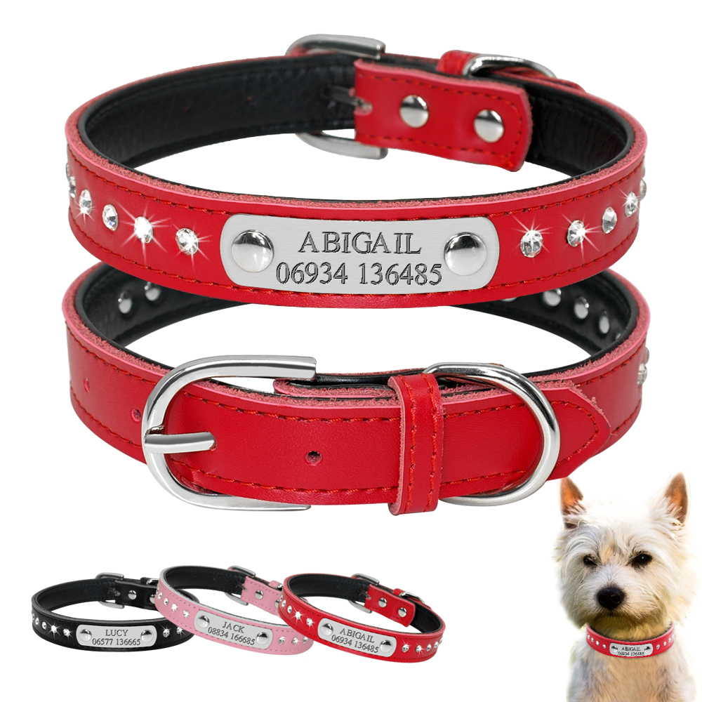 Personalized Dog Collar Engraved Leather Dogs Puppy Collar Customized Cat Collar For Small Dogs Chihuahua Yorkies Pink