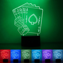 Creative Poker Playing Cards 3D Lamp Romantic 7 Color Changing Touch Night Light Home Cafe Bar Decorative Gifts(China)