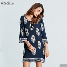 ZANZEA Boho Women Mini Print Dress 2016 Ladies Sexy 3/4 Sleeve Lace Up Long Tops Floral Casual Loose Short Vestidos Plus Size(China)