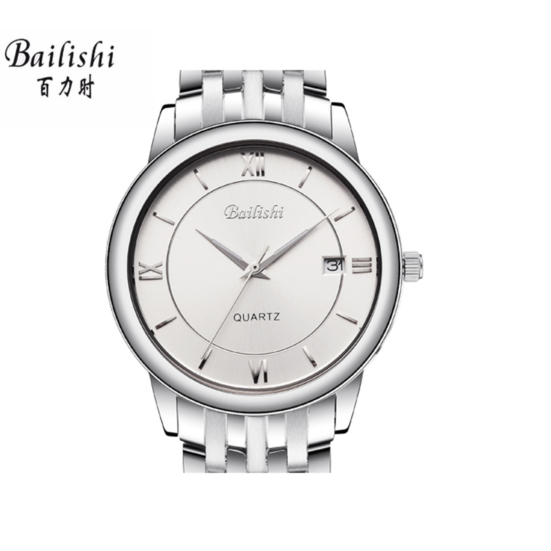 BAILISHI men watch silver stainless steel mens watches waterproof business top luxury brand male wristwatch new<br>