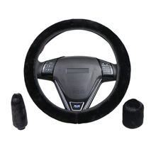 winter Steering Wheel Cover+Handbrake cover + car Automatic Covers / Warm Super thick Plush Gear Shift Collar(China)