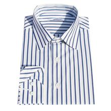 high quality big blue/white stripe man's business Dress Shirt, men's custom tailor made italy cotton Shirt  free shipping