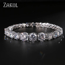 ZAKOL Classical Sliver Color AAA+ Round 0.8 Size CZ Zirconia Tennis Brand Bracelet For Woman Christmas Gift FSBP003