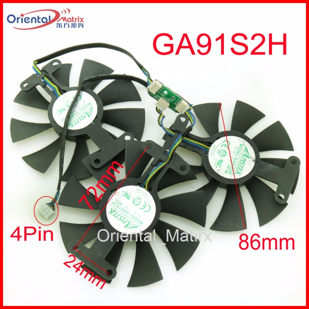 Free Shipping 3pcs/Lot GA91S2H 12V 0.35A 4Pin 86mm VGA Fan For ZOTAC GTX980TI-6GD5 GTX980TI Graphics Card Cooler Cooling Fan<br>