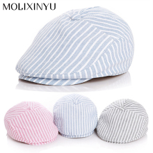 Fashion !! 2016 New Baby Cotton Berets Baby Hats Children Hat Female Beret Stripe pattern Caps Kid Flat Cap For Boy/Girl