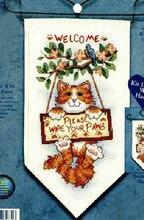 """Баннеры для уютного дома украшения Добро пожаловать """"пожалуйста вытирайте лапы"""" Счетный крест комплекты 14ct Cat Набор для вышивания 2014 новые(China)"""