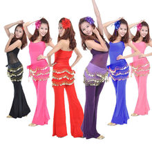 1 pc Cute Belly Dance Hip Chiffon Skirt Scarf Wrap Belt With Golden Coins in 3 Rows 11 colors dancing accessories(China)
