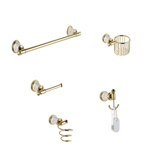 European Gold Polished Bathroom Accessories Ceramic&Copper Wall Mounted Bathroom Hardware sets DS526