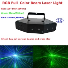 2Pcs/Lot Six-Eye Beam Laser Lights High Quality RGB Full Color Beam Laser Light Disco Dj Christmas Club Events Lighting