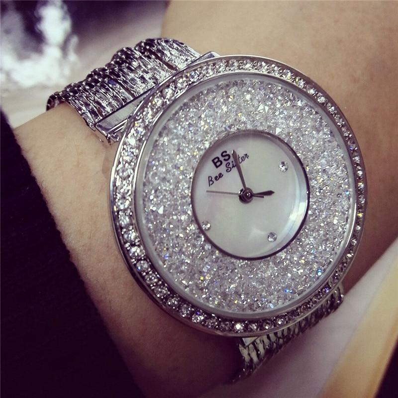 bs Wristwatches Quartz-Watches Waterproof Womens Watches Fashion Stainless Steel Band High-Grade Quicksand Diamond<br><br>Aliexpress