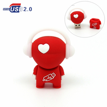 cartoon love heart music man USB flash drive red Pen drive 4gb 8gb 16gb 32gb flash memory stick Pendrive u disk real capacity(China)