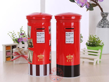 Free Shipping 1 X Red England Mailbox Money Box Tin Piggy Bank Coin Bank For Christmas Birthday Gift(China)