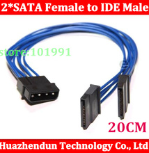 100pcs/lot wholesale Serial 20CM 18AWG 4 Pin IDE Molex to 2 *15 Pin SATA ATA HDD Power Adapter Cable Free shpiinng