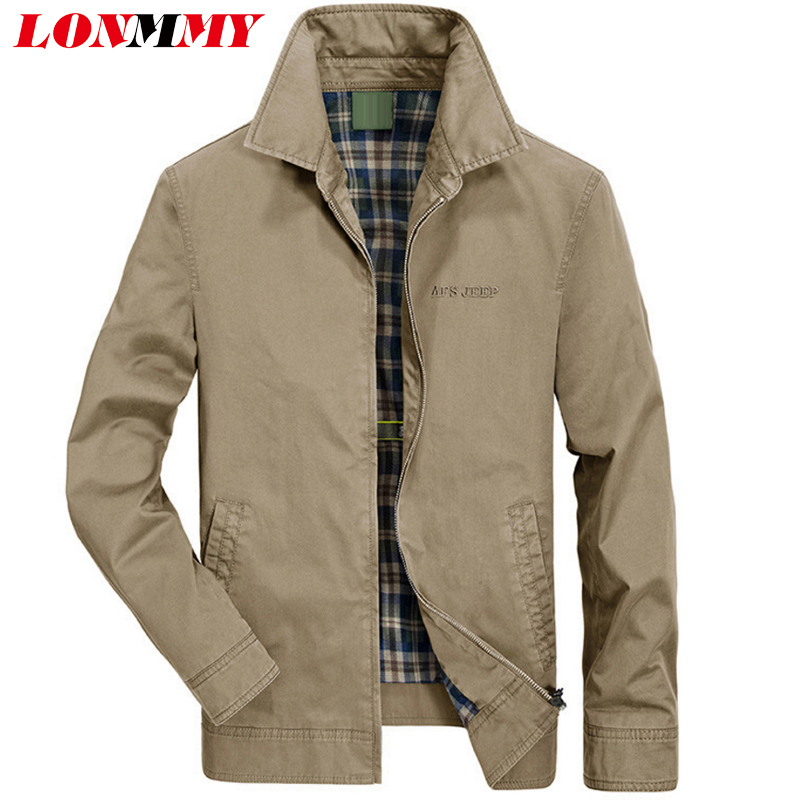 a1b4b66b632 LONMMY Military jacket men 95% cotton Outerwear Casual coats mens Bomber  windbreaker brand clothing 2018