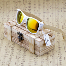 Rectangular Genuine Real Bamboo Wood Polarized Sunglasses With Reflective Mirror Tint gafas de sol(China)