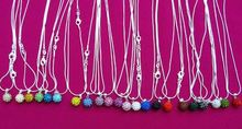 10mm Mixed white Wholesale disco ball Silver Plated Crystal Shamballa Necklace Pendant multicolor snake Chain Rhinestones(China)