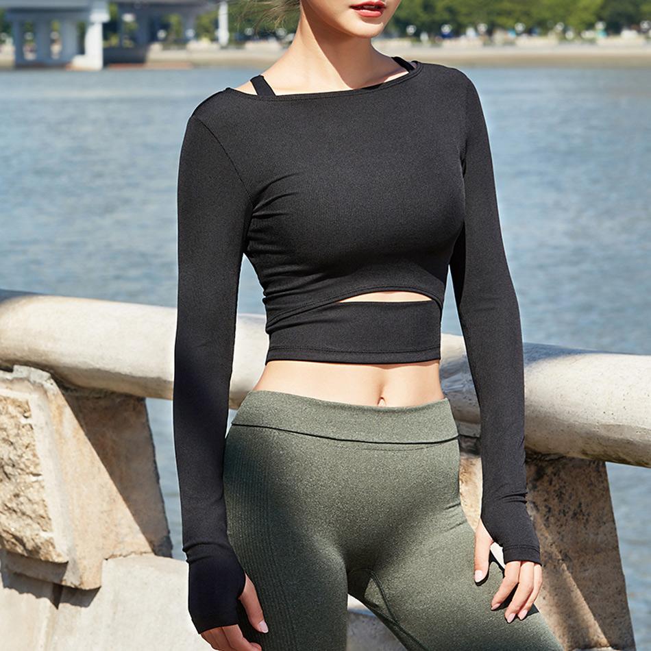 2019 Jnc Women Gym White Crop Tops Yoga T Shirts Long Sleeve Workout