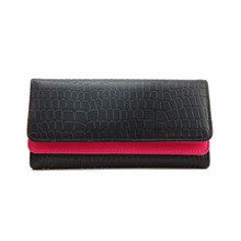 2017 Fashion Women Crocodile Double Flip Fold Long Wallet Purse Female Leather Small Change Clasp Purse Money Card Coin Holder