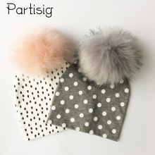Baby Hat Artificial Fox Fur Baby Boy Cap Cotton Printing Pompom Bobble Hat For Girls Winter Children Hats Caps(China)