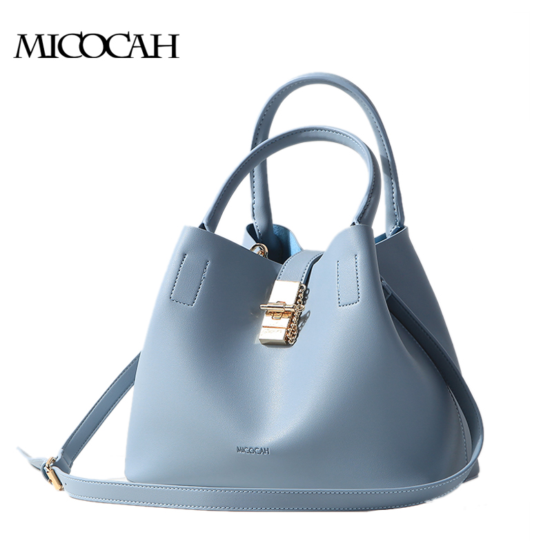 MICOCAH Brand New Arrival Big Shoulder Bag With A Metal Lock Fashion Bags PU Leather 2 Pieces Solid Color Bucket Bags GN40002<br><br>Aliexpress