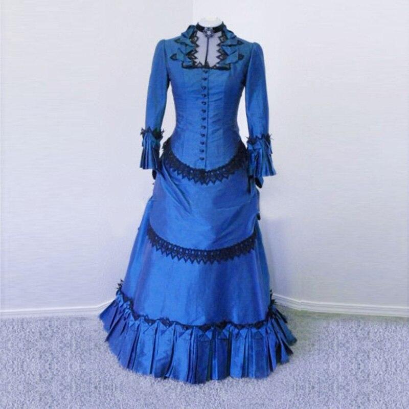 Best-Selling-Blue-Taffeta-Victorian-Bustle-Ball-Gown-Dress-Victorian-Bustle-Dress-Costume-Wedding-Party-Dresses