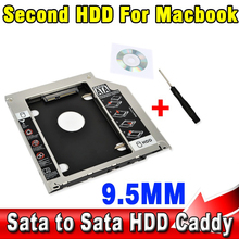 "NEW Aluminum 9.5mm Second HDD Caddy SATA 2.5"" SSD Enclosure Hard Disk Drive for Apple Macbook A1286 A1297 CD ROM Optical Bay"